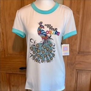 "LuLaRoe Tops - ❌SOLD❌ NWT M LLR Peacock ""True Colors"" Liv Tee"